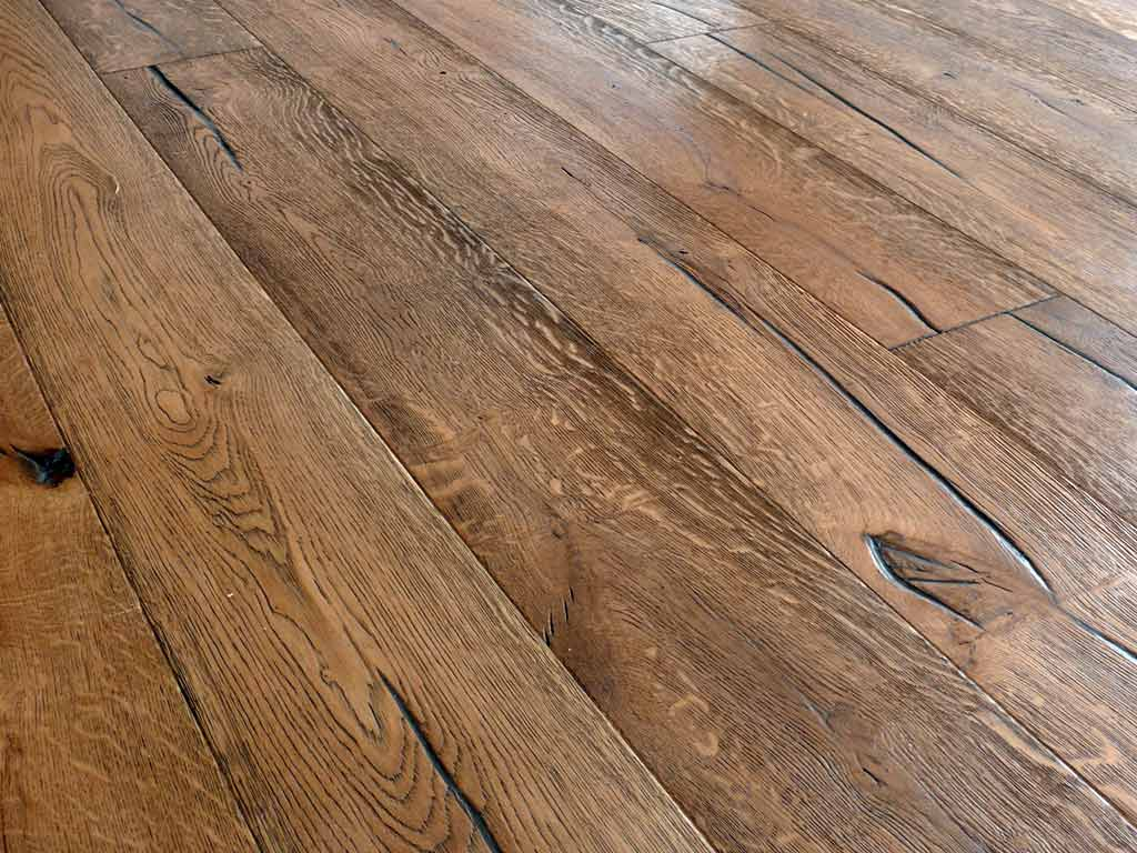 Distressed wood floor antique wood floors reclamed oak for Oak wood flooring