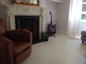 White Painted solid pitch pine flooring